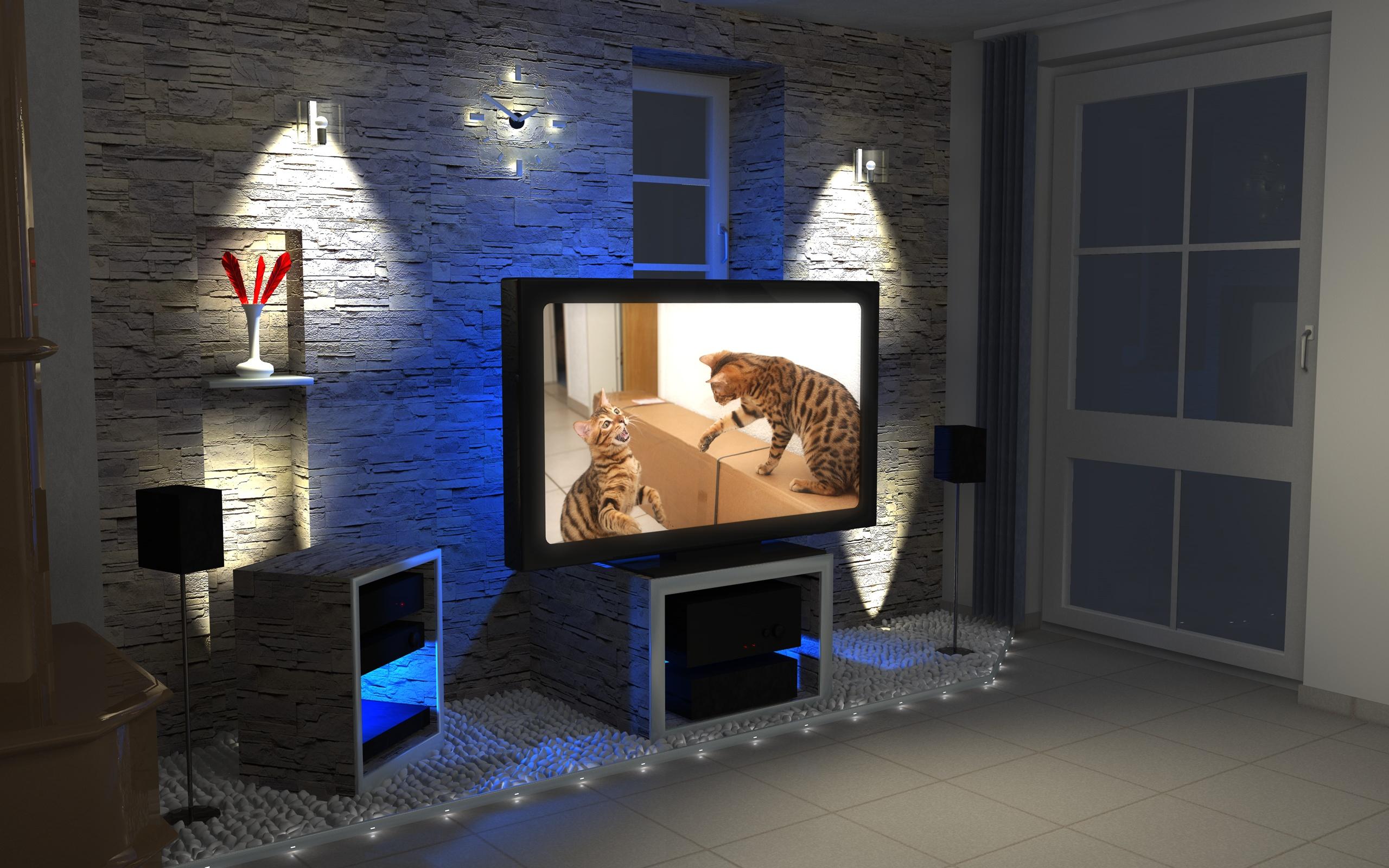 2153AA2560 LED Baterky Iarovky Psy Reflektory Trubice RGB 1600 4170 Licht Ideen Wohnzimmer Bilder