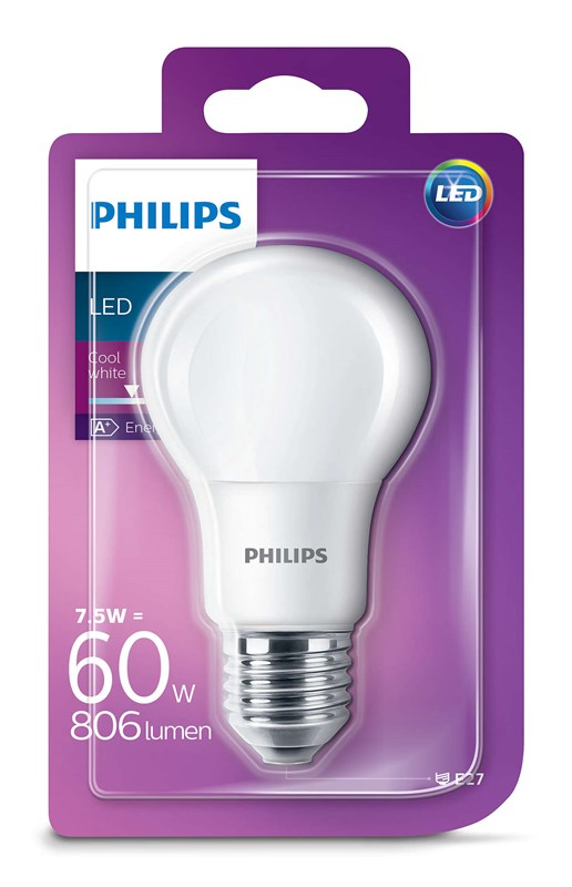 Philips LED CLA60 7,5W E27 Studená 4000K