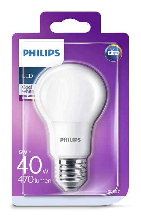 Philips LED CLA40 5-6W E27 Studená 4000K