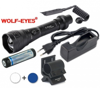 LED Baterka Wolf-Eyes X-Beam Biela XP-L V5 v.2 2017 + Modrá LED Full Set